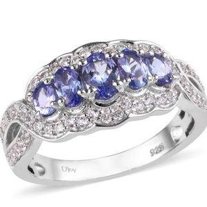 Jewelry - Tanzanite, zircon split ring in platinum over SS